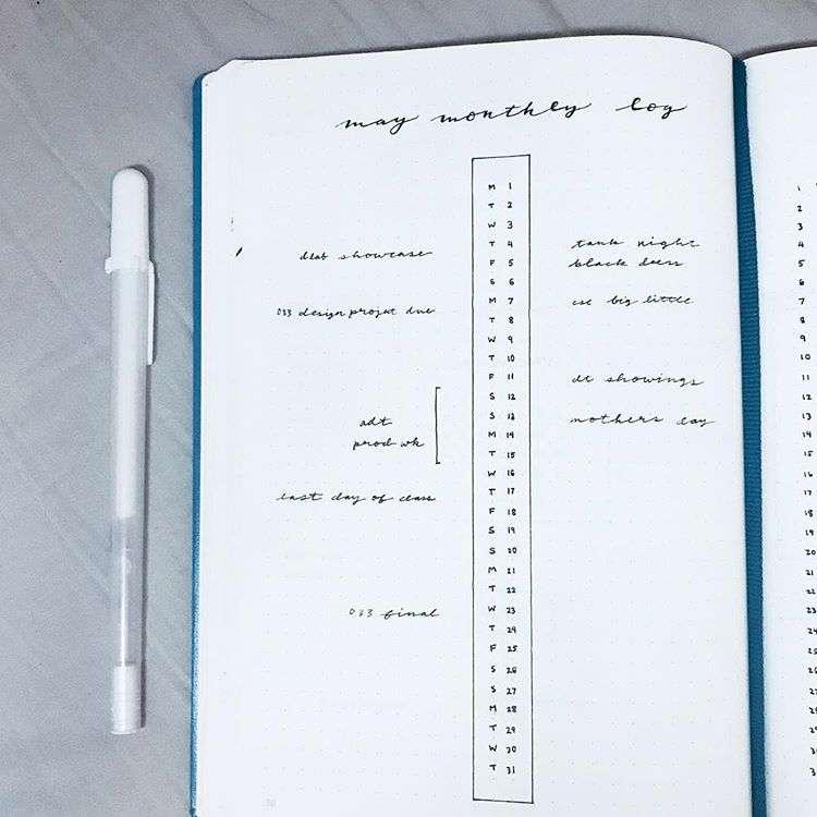 minimalist calendar layout bullet journal
