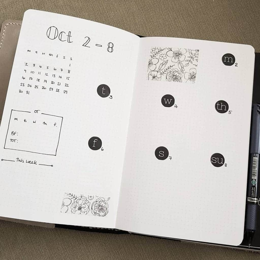 simple black and white spread idea for minimalist bullet journal