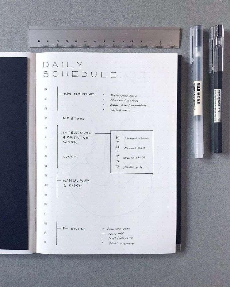 minimalist schedule layout