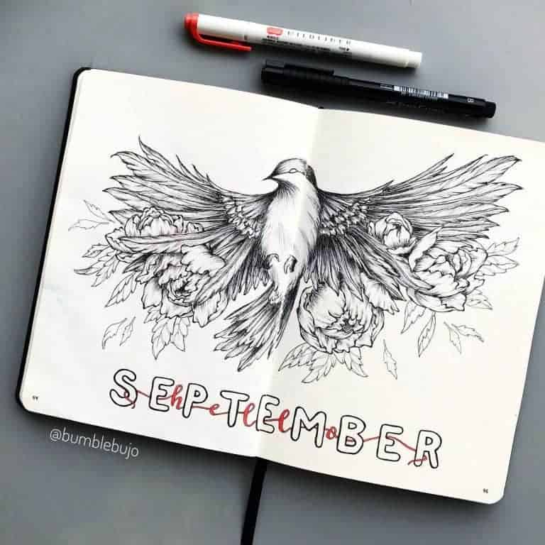 Bird flying drawing for September cover page