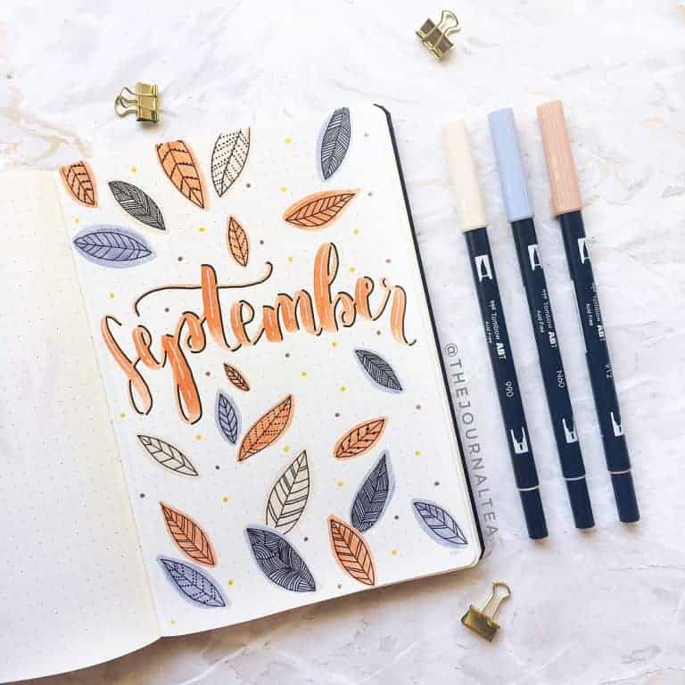 orange and blue falling leaves bullet journal cover