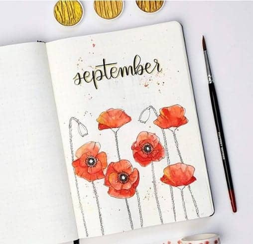 poppies bullet journal cover