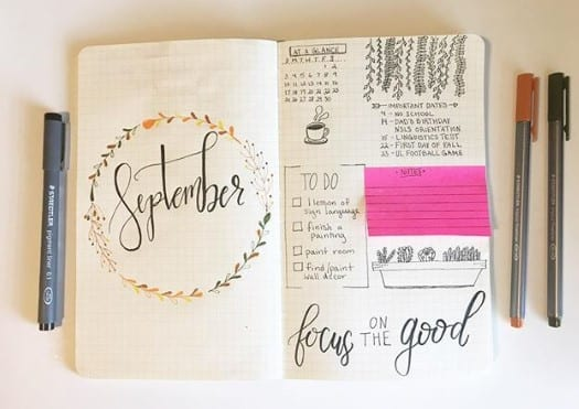 september bullet journal month page