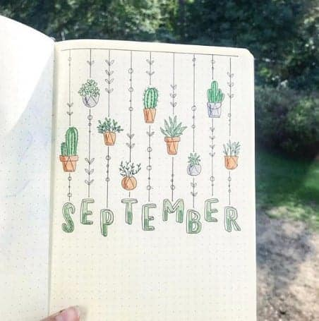 cactus bullet journal cover page