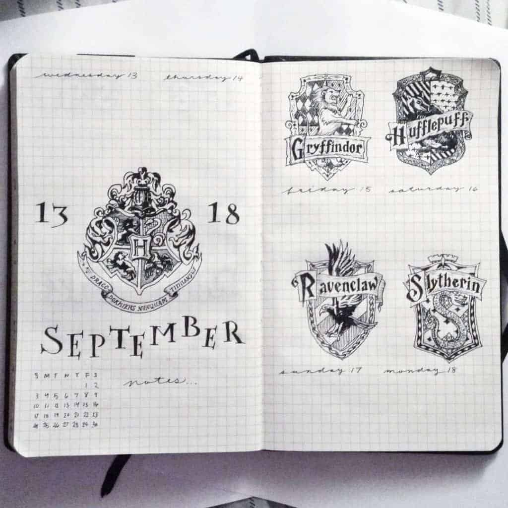 harry potter weekly layout bullet journal