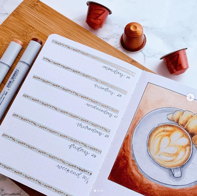 Simple coffee weekly bullet journal spread