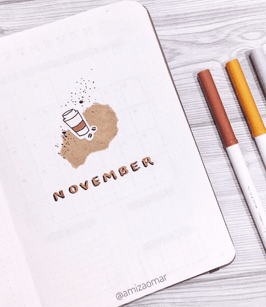 Simple November Bullet Journal Cover Page