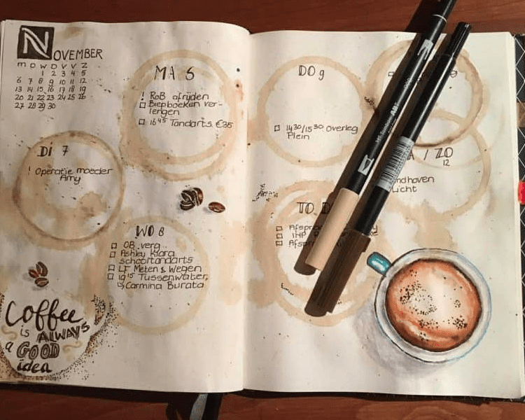 coffee stained bullet journal spread
