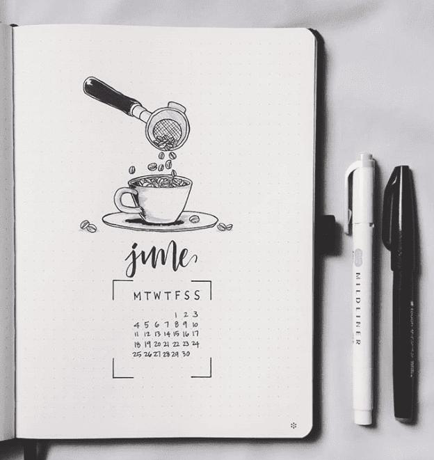 monthly bullet journal spread