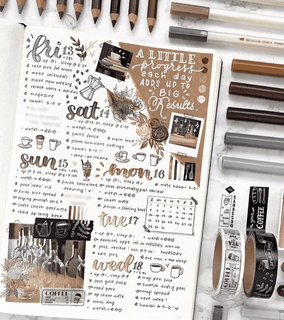 maximalist bullet journal spread