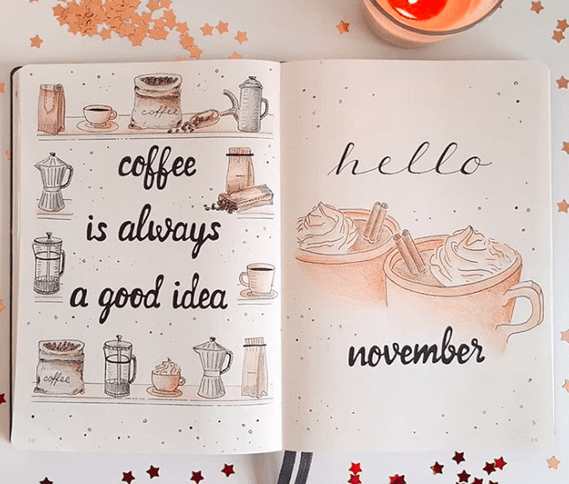 November Cover page Bullet Journal Spread