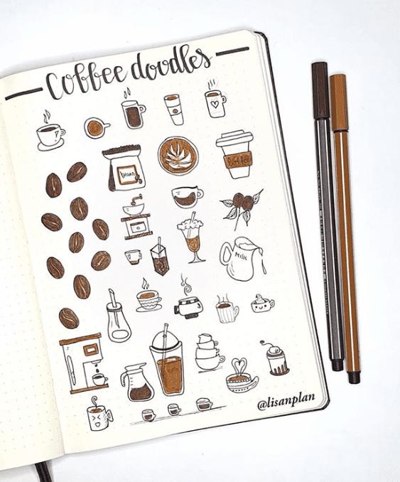 coffee doodles in bullet journal