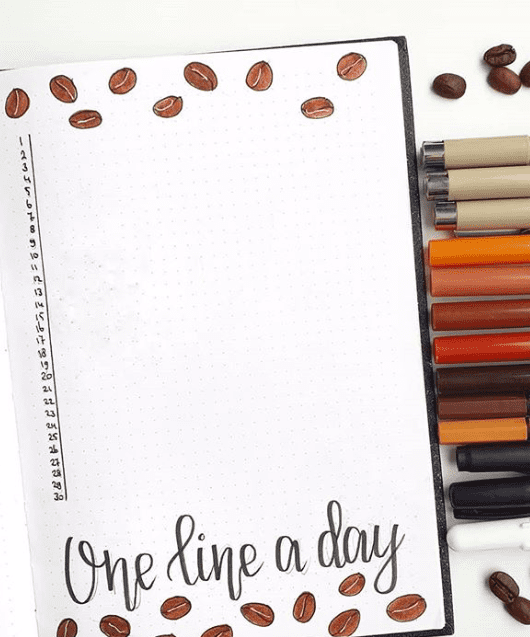 One line a day bullet journal spread