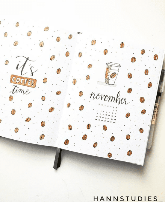 its coffee time November bullet journal cover page