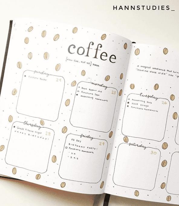 coffee bean weekly bullet journal spread