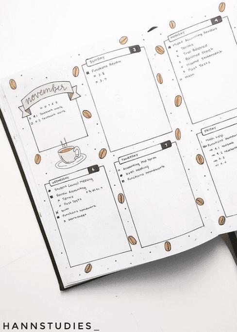 coffee themed weekly bullet journal spread