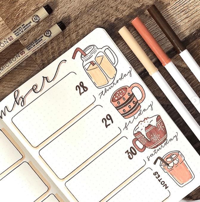 coffee weekly bullet journal spread