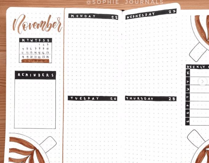 November weekly bullet journal spread