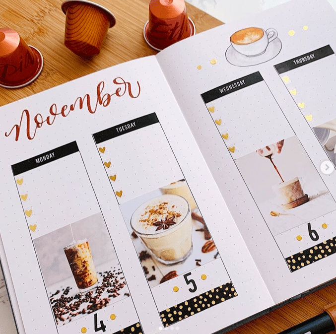 coffee themed weekly spread