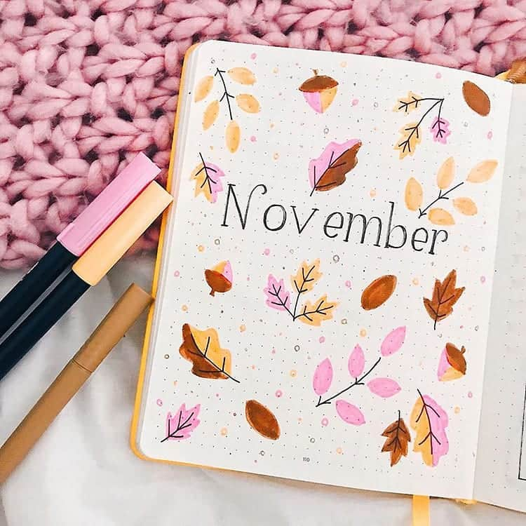 Beautiful November Bullet Journal Cover Page