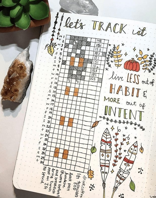 Fancy November Bullet Journal Habit Tracker