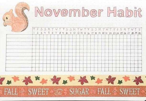 November Habit Tracker Bujo