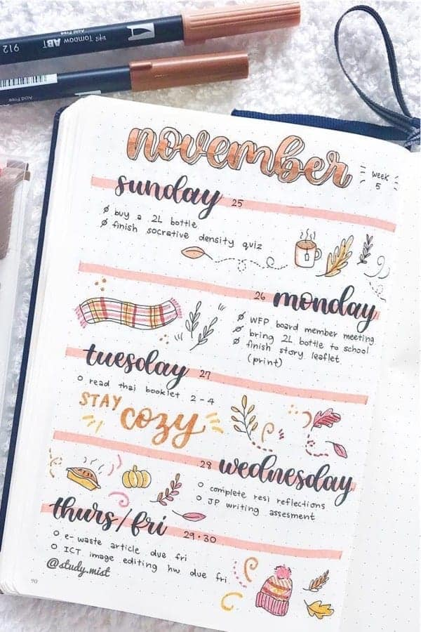 Hello November Bullet Journal Spread