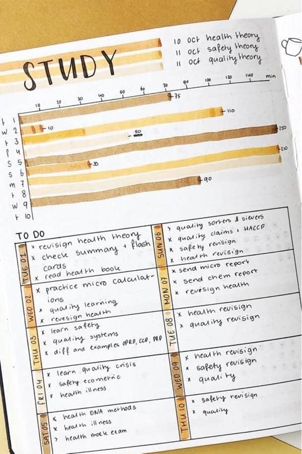 November College Student Bullet Journal Tracker