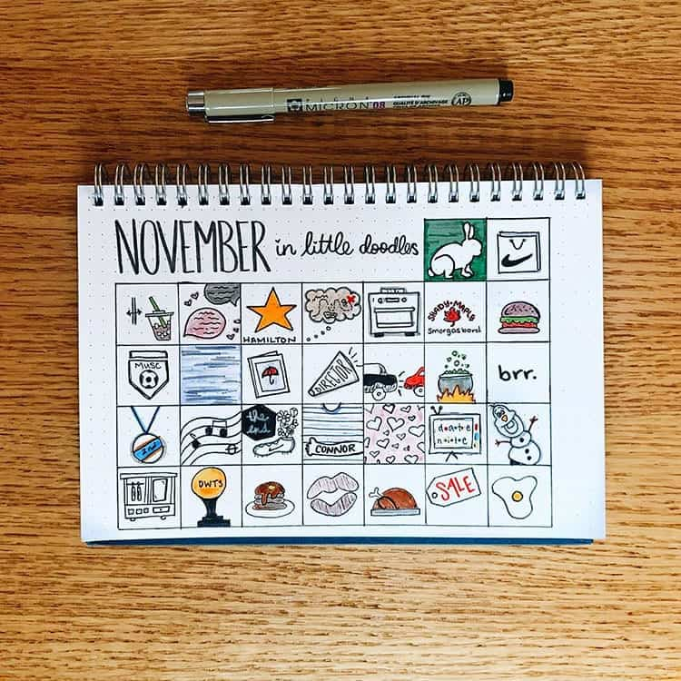 November Bullet Journal Doodle Ideas