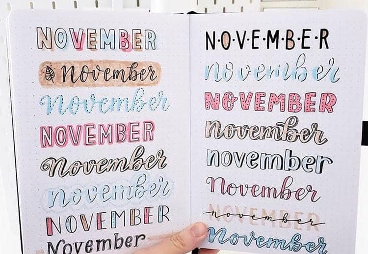 November Bullet Journal Headers