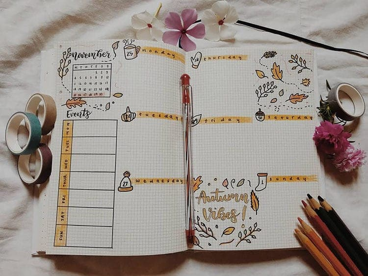 November Bullet Journal Spread