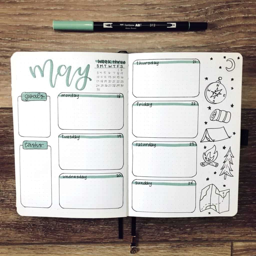 Cute Bullet Journal Weekly Spread for May