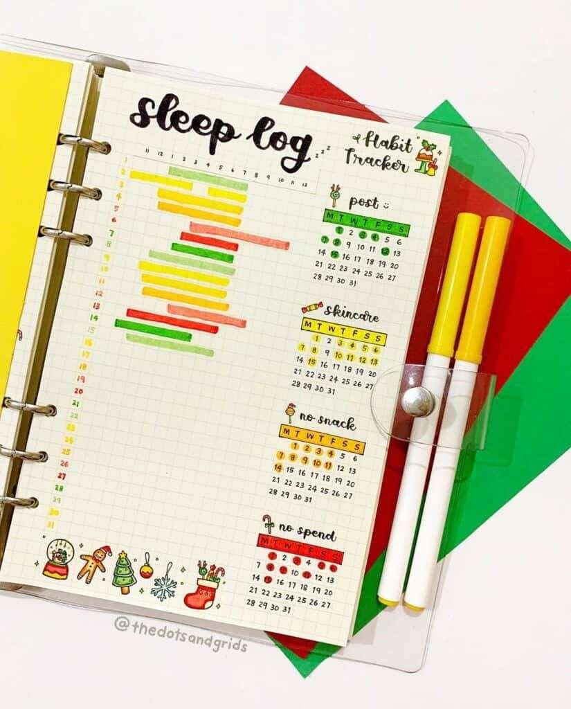Bullet Journal Sleep Log and Habit Tracker