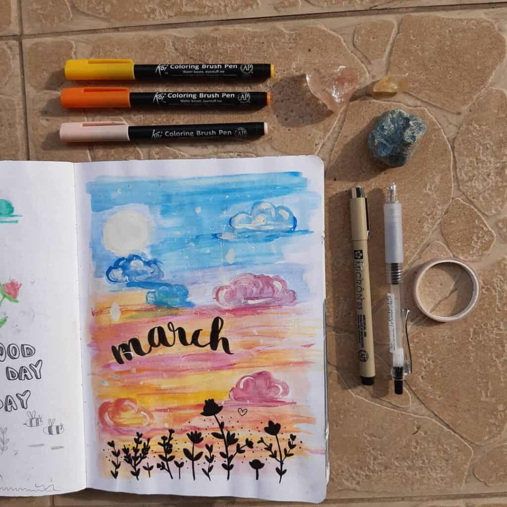 March Cover Page Bullet Journal